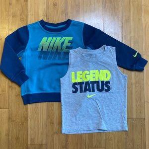 lot of 2 Nike boys neon tops yellow/blue 5
